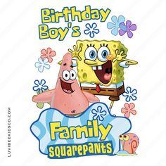 Spongebob Squarepants Iron On Transfer Design - Birthday Boy's Family Diy Birthday Shirt, Family Birthday Shirts, Family Birthdays, Family Shirts, Boy Birthday, Birthday Parties, Spongebob Shirt, Comfort Colors, Spongebob Squarepants