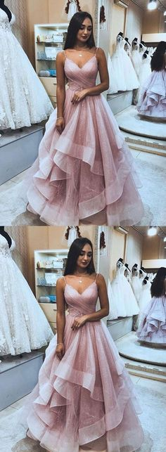 Princess ball gown pink long prom dresses, fashion spaghetti straps graduation party dresses, formal bling senior prom dresses for teens Senior Prom Dresses, Prom Dresses Long Pink, Ball Dresses, Sexy Dresses, Girls Dresses, Elegant Dresses, Formal Party Dresses, Teen Party Dresses, Pink Ball Gowns