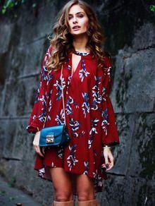 Vestido manga larga flores -rojo