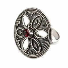 This is a beautiful sterling silver ring with garnet gemstone. Diameter Weight Comes in a white jewellery box. Sterling Silver Cross Pendant, Sterling Silver Flowers, Sterling Silver Rings, Garnet Gemstone, Gemstone Rings, White Jewelry Box, Jewellery Box, Gemstones, Beautiful