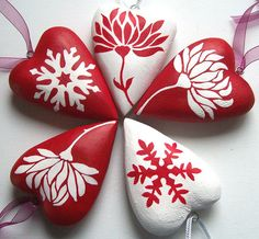 Some more of my hand-painted wooden hearts, all in festive red and winter white! I love making these - I use the tiniest little brush for the fine bits.