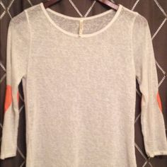 Boutique Cream Top Cream top with coral heart elbow patches. Worn once. Tops