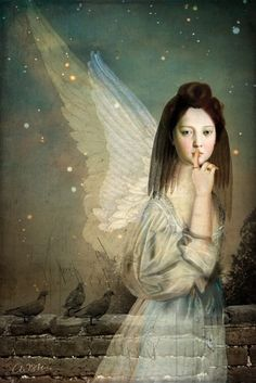 """Silence"" Digital Art by Catrin Welz-Stein posters, art prints, canvas prints, greeting cards or gallery prints. Find more Digital Art art prints and posters in the ARTFLAKES shop. Illustrations, Illustration Art, Claudia Tremblay, I Believe In Angels, Image Originale, Angels Among Us, Pop Surrealism, Angel Art, Wassily Kandinsky"