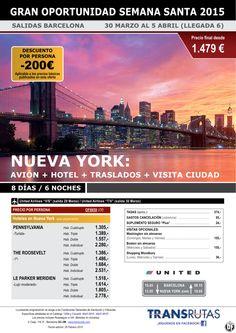 NUEVA YORK + Visita ciudad / 8 días ¡¡Gran oportunidad S. santa: 30 mar - Descuento -200€! Barcelona ultimo minuto - http://zocotours.com/nueva-york-visita-ciudad-8-dias-gran-oportunidad-s-santa-30-mar-descuento-200e-barcelona-ultimo-minuto-8/