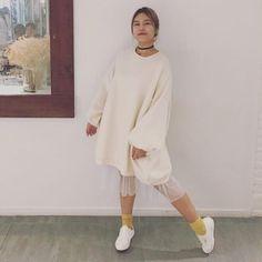 Oversized Sweater Dress with Fleece  on yeseoul.com