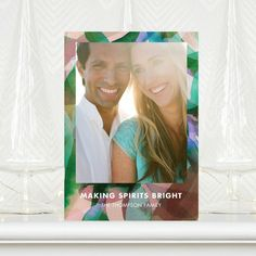 Verdant Winter - #Holiday Photo Cards feature a beautiful multi-color border.