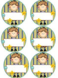 Badges for Kindergarten Children - Preschool Children Akctivitiys First Day Of School, Pre School, School Days, Sunday School, Classroom Labels, Classroom Decor, Kindergarten, School Frame, School Labels