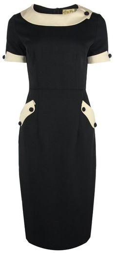 Lindy Bop Classy 'Tiffany' Vintage 1950's Collared Pencil Wiggle Dress (2XL, Black) 49.99