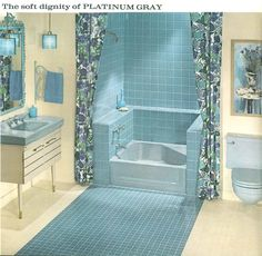 Vintage Colored Tile Bath With Medium Blue Tile And Fixtures The - Colored bathroom fixtures