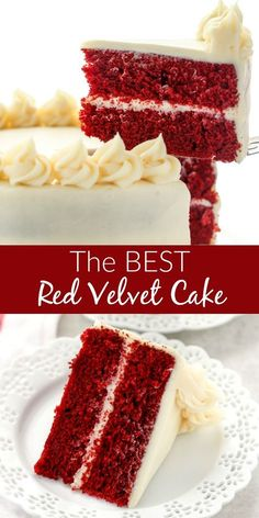 Red velvet cake is a decadent and delicious classic dessert! This is my favorite Red Velvet Cake recipe! This cake is incredibly soft moist buttery and topped with an easy cream cheese frosting. Bake up a red velvet cake today! Homemade Red Velvet Cake, Red Velvet Recipes, Homemade Cakes, Red Velvet Cake Moist, Red Velvet Cheesecake Cake, Red Velvet Desserts, Best Red Velvet Recipe, Cream Cheese Frosting Recipe For Red Velvet Cake, Delicious Red Velvet Cake Recipe