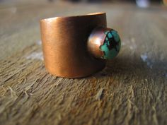 Turquoise ring- One World copper tapered ring. $44.00, via Etsy.