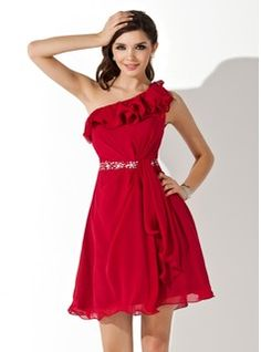 Homecoming Dresses - $136.99 - A-Line/Princess One-Shoulder Short/Mini Chiffon Homecoming Dress With Beading Sequins Cascading Ruffles  http://www.dressfirst.com/A-Line-Princess-One-Shoulder-Short-Mini-Chiffon-Homecoming-Dress-With-Beading-Sequins-Cascading-Ruffles-022004445-g4445