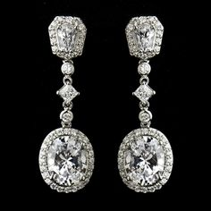 Antique Silver CZ Crystal Dangle Wedding Earrings! Visit affordableelegancebridal.com for affordable wedding accessories!