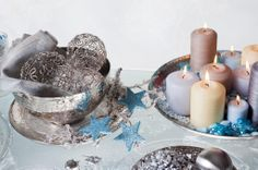 Calm Christmas decoration in silver - blue