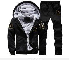 Grandwish Winter Thick Inner Wool Hoodie Men Hat Casual Active Suit Men  Zipper Exercise Suits Men Outwear Plus Size 4XL 93ea3162c1c
