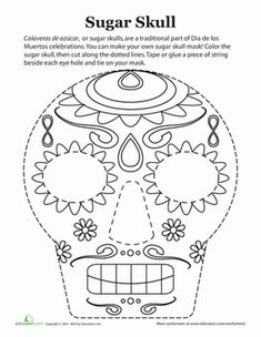 Paper Projects Worksheets: Dia de los Muertos Mask