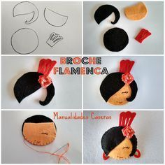 Homemade Crafts Easy as making a flamenco brooch with polka dot flower Felt Diy, Felt Crafts, Fabric Crafts, Sewing Crafts, Diy And Crafts, Crafts For Kids, Textile Jewelry, Fabric Jewelry, Barrettes