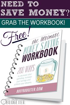 The Ultimate Money Saving Workbook: 200 Ways to reduce your spending, increase your savings and achieve your dreams! This is the checklist we used to reduce our spending by over 23k and allowed me to quit my job and stay home with our kids. Still works 5 years later! Love it!