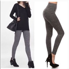High Waist Tummy Tuck  leggings Nwt High Waist fleece lined Marled gray leggings Which are both flattering and comfortable . This is  one size and will fit shall through XXL . Please comment for personal listing Vivacouture Accessories Hosiery & Socks