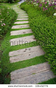 Find Bending Garden Stone Path stock images in HD and millions of other royalty-free stock photos, illustrations and vectors in the Shutterstock collection. Thousands of new, high-quality pictures added every day. Garden Yard Ideas, Garden Paths, Garden Projects, Backyard Walkway, Front Yard Landscaping, Back Gardens, Outdoor Gardens, Landscape Design, Garden Design