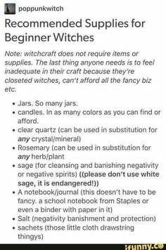 Suggested equipment for beginner witches