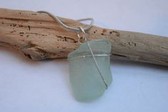Aqua/Seafoam coca-cola bottleneck Seaglass Necklace by BeachBumsLife on Etsy Beach themed jewelry from coastal Maine