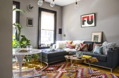 """This colorful living room is from our feature """"Buoyant Brooklyn"""""""