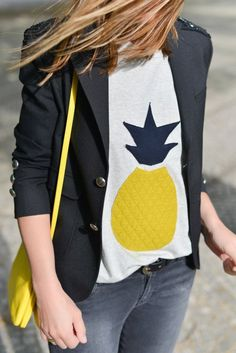 Spring / Summer - street chic style - black blazer - white pineapple print t-shirt + gray distressed skinnies + black belt + neon yellow messenger bag
