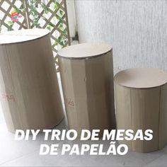 Passo a passo de como fazer um trio de mesas redonda feitas com papelão,  sem enrolação, simples e fácil de fazer. #diy #decoraçãodefesta #ideias #papelão