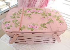 PINK ROSE STORAGE BASKET daSommers hp chic shabby vintage cottage hand painted #BASKETVILLE #SHABBYCHICROMANCE