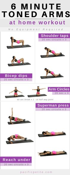 workout plan to tone arms for women. Arm workout great for beginners to tone the upper body and get rid of flabby arms. No more bat wings after doing this fat burning exercise routine for a 30-Day period. #tonedarms #tonearms #armsworkout #workoutforarms #weightloss #athomeworkout #pacificpetiteworkouts