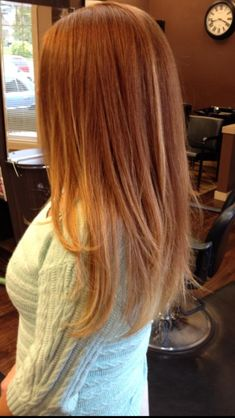 Into this. My natural red with ombre blonde. Good summer hair and I wouldn't really have to worry about roots!