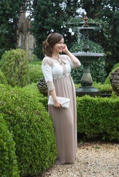 Modest Fashion | Modest Bridesmaid Dresses | Tan and Lace Fairest of Them All Dress by Dainty Jewell's