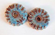 Handmade porcelain Earring Pairs charms  dark brown por Majoyoal