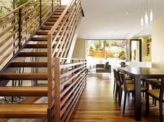 A light-filled modern home by John Maniscalco Architecture is sited in the hilly neighborhood of Dolores Heights, San Francisco, California. Staircase Handrail, Stair Railing Design, Open Staircase, Bannister, Architecture Details, Modern Architecture, Long House, Interior Design Inspiration, Design Ideas