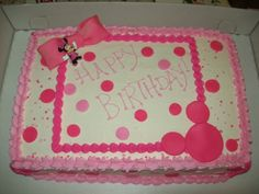 Minnie Mouse sheet cake-- in red and black icing though! pretty