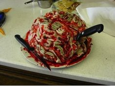 "How about a bloody brain cake?  | Horrifying Zombie-Themed Treats For The Ultimate ""Walking Dead"" Premiere Party"