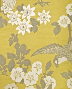 Herons Wallpaper Mute yellow wallpaper with heron and floral print in white and metallic pewter.