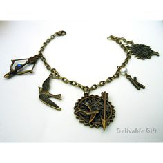 Hunger Games Charm Bracelet Mockingjay and Katniss's bow and arrow... ($3.99) ❤ liked on Polyvore