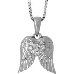 Jools by Jenny Brown Sterling Silver Pave Wings Pendant, Rhodium ($69) ❤ liked on Polyvore featuring jewelry, pendants, necklaces, sterling silver pendant, sparkle jewelry, rhodium jewelry, heart shaped jewelry and wing jewelry