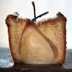 cardamom cake, whole pears + white chocolate