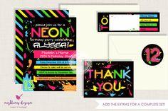 Neon Invitation Set // Personalized // por NestlingDesign en Etsy