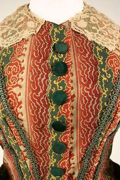 Details of a dress, 1860-62.