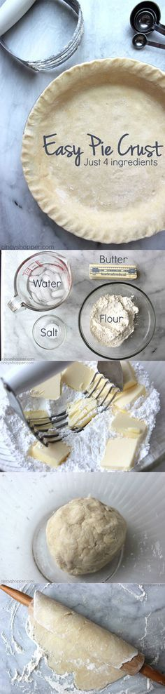 Easy Pie Crust - step by step homemade pie crust. Just four simple ingredients and a few minutes of time. Sweet Pie Crust Recipe, Pastry Crust Recipe, Baked Pie Crust, Pie Crust For Quiche, Coconut Pie Recipe Easy, Pie Dough Recipe Easy, Homemade Pie Crust Easy, Chicken Pie Recipe Easy, Double Pie Crust Recipe