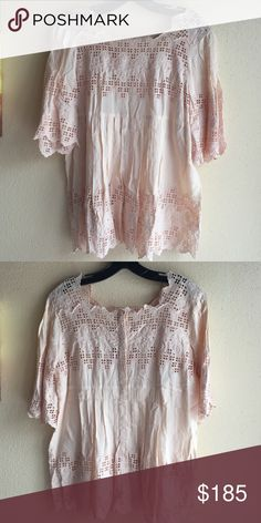 Love Sam Cotton crochet top All cotton pleated and crochet detail front and back Love Sam Tops Blouses