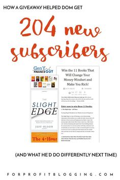 Dom from Gen Y Finance Guy writes about how he used a giveaway to add more than 200 subscribers to his mailing list.