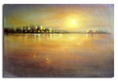 """24""""x36""""Original hand painted oil painting canvas Landscape House Night view 