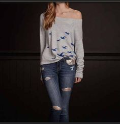 Hollister outfit, grey sweater with blue seagals ✤❤️➳ Pinterest: greatgrace99 ➳❤️✤