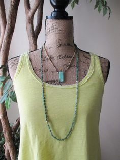Long Semi precious stone knotted necklace Rolling by slashKnots