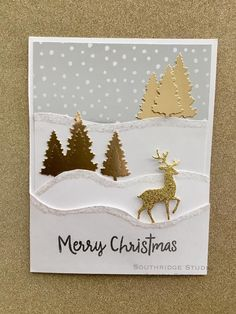 Christmas Card Crafts, Christmas Tree Themes, Christmas Cards To Make, Xmas Cards, Holiday Cards, Christmas Snow Globes, Christmas Deer, Anna Griffin Cards, Winter Cards